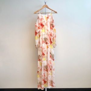 Calvin Klein Rose Maxi Dress with Cold Shoulders